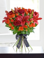 Luxury Red Rose and Lily Hand-tied With Luxury Champagne