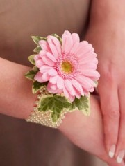 Pale Pink Germini and Pearl Wrist Corsage