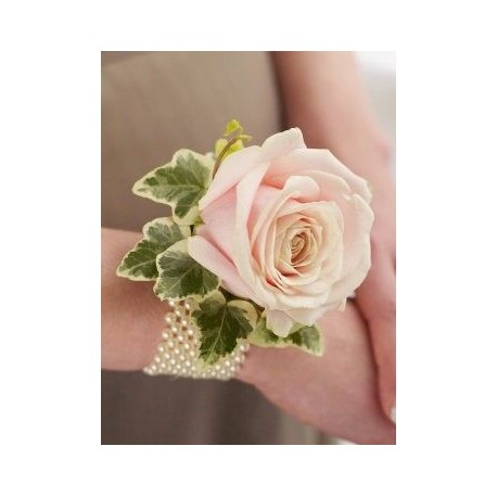 Soft Pink Rose and Pearl Wrist Corsage
